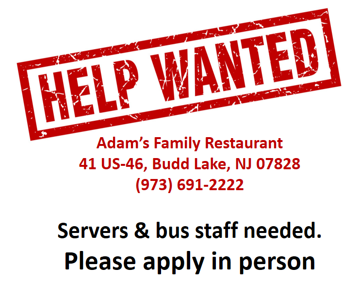 help wanted adams family restaurant
